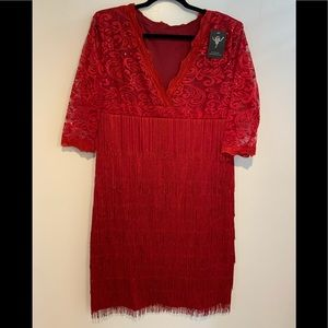 Red v-neck, lace flapper dress